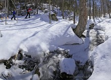 assignment,sample,Adirondack Life,magazine,photo,commissioned,skiers,Adirondack Park, Botheration Pond,skiing,x-c skiing