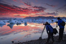 Photographing at Jokulsarlon at sunset