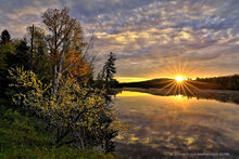 Abanakee Lake,Lake Abanakee,sunrise,reflection,brilliant,apple tree,flowering,crabapple,Indian Lake, ,sunrise,spring,2017,Johnathan Esper,