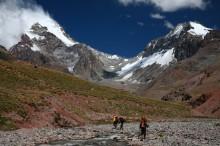 Hiking into Base Camp of Aconcagua