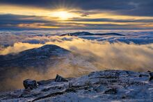 Algonquin summit in winter above the clouds with Iroquois and Santanonti peaking above