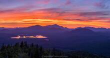 Ampersand Mt summit sunrise over Oseetah Lake, Whiteface Mt, Sentinel Range