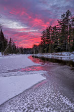 Wilmington Notch,Ausable River,sunset,ice,forming ice,December,winter,cold,AuSable River,