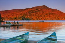 Blue Mountain Lake,Blue Mountain,canoes,shoreline,sunset,alpenglow,summer,canoeing,canoeists,2011