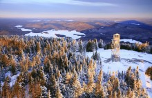 Blue Mountain, summit, firetower, aerial, view, radio tower, winter, sunrise,Blue Mountain firetower,shadow,Blue Mountain Lake,Blue Mt,