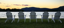 Adirondack Chair, Blue Mountain Lake, Adirondack Chairs, five, sunset, peaceful, lakeshore, lake