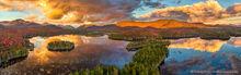 Boreas Pond, Boreas Mt, and Adirondack High Peaks aerial pano