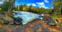 Buttermilk Falls,Raquette River,fall,2011,pine needles,rocks,panorama,falls,waterfall,