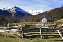 wilderness, cabin, corral, Cerro Castillo, Reserva Natural, log, fence, remote, Patagonia