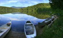 Canoes, Heart Lake, Adirondack Loj, High Peaks, region, still, calm, morning, lake
