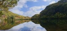 Chapel Pond,outlet,side,lake,pond,Adirondack,Adirondack Park,High Peaks,region,picturesque,idyllic,calm,reflection,panor