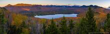 Clear Pond Mt sunrise light on Boreas Mt and Elk Lake Preserve (private)