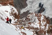 Climbers Ascending the Canaleta Chute