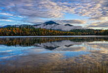 Connery Pond morning reflections of foliage and Whiteface Mt above fog