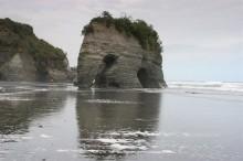 Elephant Rock, Taranaki, Coast, New Zealand, Three Sisters, beach