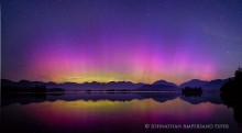 Elk Lake,Aurora Borealis,Northern Lights,Elk Lake Aurora Borealis,night,sky,Dix Range,Dix,High Peaks,night sky,Elk Lake Preserve
