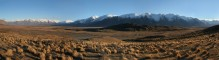 New Zealand,Southern Alps,panorama,Erewhon Park,sheep station,plain,wide,wash,river,tussock,grasses,snow-capped,mountain