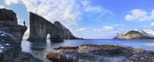 Faroe Islands Tindholmer rock sillouette