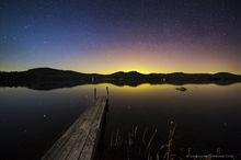 Fern Lake,aurora borealis,dock,wooden dock,night stars,night sky,April,2016,Fern Lake dock aurora borealis