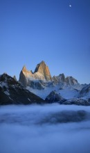 Monte Fitz Roy Among the Moon and Clouds