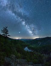 Giant's Washbowl pond and Dix Range under the Milky Way and stars