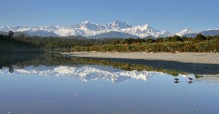 Gillespies Lagoon,oystercatcher,birds,wading,reflection,Mt. Cook, Mt. Tasman, West Coast, New Zealand