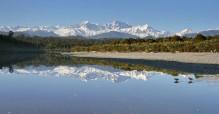 Gillespies Lagoon,oystercatcher,birds,wading,reflection,Mt. Cook, Mt. Tasman, West Coast, New Zealand