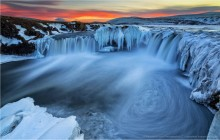 Godafoss Waterfall Ice Eddy