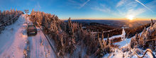 Gore Mountain,Gore Mt,Gore Mountain Ski Area,Northwoods Gondola,lift tower,winter,panorama,High Peaks,