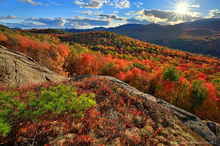 Peaceful Valley,Peaceful Valley Cliffs,Gore Mt,Gore Mountain,autumn,backlit,foliage,red,Adirondack Mountains