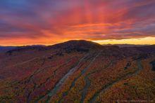 Gore Mountain Ski Area trails sunset behind summit during Harvestfest - single frame