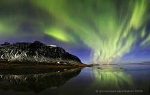 Hali farm under aurora borealis, Iceland