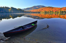 Heart Lake,Hornbeck,canoe,shoreline,Hornbeck Blackjack canoe,Hornbeck canoe,Heart Lake canoe,reflection,autumn,Algonquin,High Peaks region,High Peaks,Adirondacks