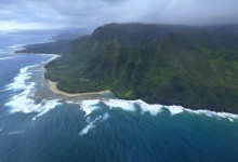 aerial, view, Na Pali, coast, coastline, Ke'e Beach, Kee Beach, cliffs