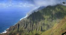 Honopu Ridge, view, Na Pali, coastline, coast, cliffs, fluted, grand, rainbow, vista, overlook