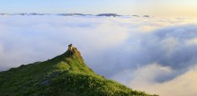 hiker,hiking,above,clouds,epic,panorama,midnight,sun,Iceland,Hornstrandir Peninsula,Westfiords,sky,walking,on