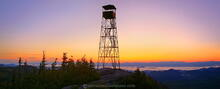 Hurricane Mountain, firetower, sunrise, Champlain Valley, sillouette, Hurricane Mt, predawn, Green Mountains, Vermont Ca