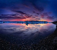 Jokulsarlon lagoon sunset, Iceland