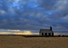 idyllic Iceland country church in winter