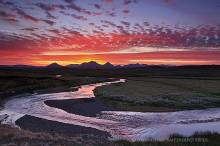 Modrudalur highlands farm area sunset