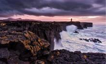 ocean, cliffs, sea cliffs, rain, rain clouds, lighthouse, mountains, ondverdarnes, snaefellsness, iceland,