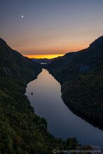 Lower Ausable Lake from Indian Head with crescent moon