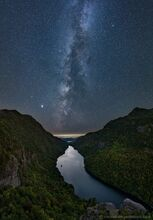 Indian Head overlooking Ausable Lake under the Milky Way