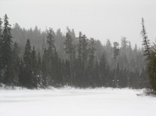 Frozen-over waterway route to Ishapatina