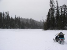 Snowmobile route to Scarecrow Lake