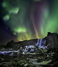 Aurora Borealis,Iceland,Northern Lights,Silfra crack,Thingvellir,aurora,crack,falls,icy,tectonic plate,waterfall,winter,Öxararfoss...