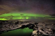 Aurora Borealis,Iceland,Northern Lights,Silfra crack,Thingvellir,aurora,band,crack,green,sky,stars,tectonic plate,winter,