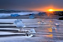 Ocean surf and icebergs, Iceland