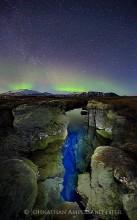 Aurora Borealis,Iceland,Northern Lights,Silfra crack,Thingvellir,aurora,band,blue,crack,green,light,light painting,sky,stars...