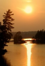 canoeing, canoeists, summer, evening, still, life, sillouette, hazy, warm, golden, sunset, pond, Jennings Pond, Long Lak